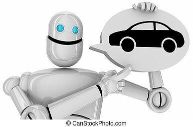 Car Automobile Robot Talking Speech Bubble 3d Illustration