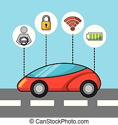car autonomous driverless security sensor and electric energy technology features