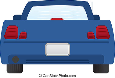Isolated back of blue car