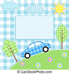 Car background - Cute car, flowers, trees, clouds and sun on...