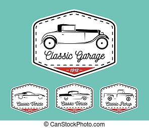 Car badge logo of classic retro motor vehicle icon collection