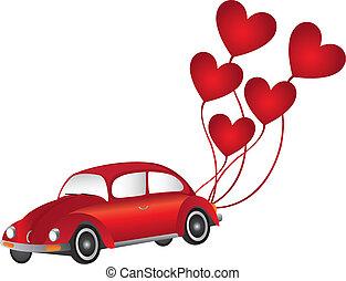 car, balões, coração vermelho
