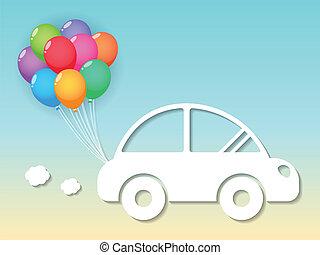 car, balões