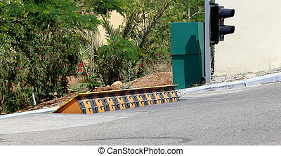 car barrier (Roadblock) on the on the road, Jordan, Middle East