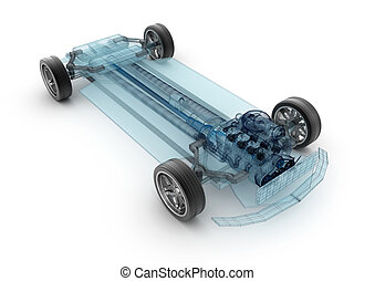 Car base design, wire model.3D illustration. My own car design.
