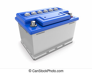 Car battery. 3d - Car battery on white background. Three-...