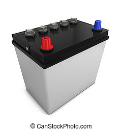 Car battery. 3d illustration isolated on white background