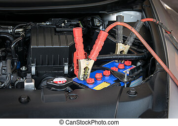 car battery charging - Charging battery car with electricity...