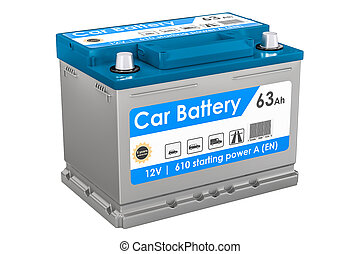 Car Battery closeup, 3D rendering