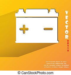 Car battery. Flat modern web button with long shadow and space for your text