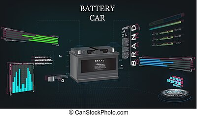 car battery, futuristic sci fi hi tech concept background