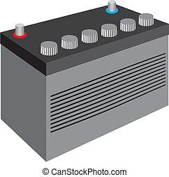 Generic black car battery isolated on white background