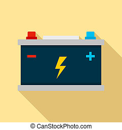 Car battery icon, flat style