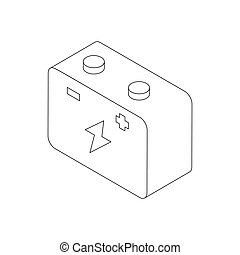 Car battery icon, isometric 3d style