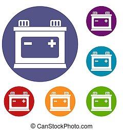 Car battery icons set