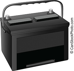 Illustration of a 12 volt battery used in automobiles in black with space for your text.