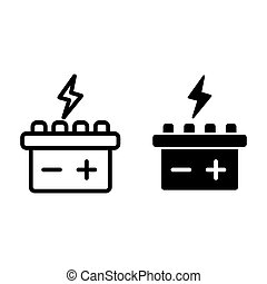 Car battery line and glyph icon. Accumulator vector illustration isolated on white. Electricity outline style design, designed for web and app. Eps 10.
