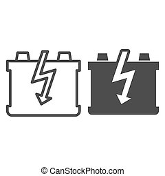 Car battery line and glyph icon. Charge battery vector illustration isolated on white. Accumulator outline style design, designed for web and app. Eps 10.
