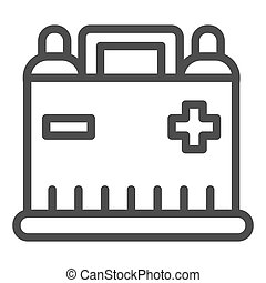Car battery line icon. Auto alkaline vector illustration isolated on white. Automobile accumulator outline style design, designed for web and app. Eps 10.