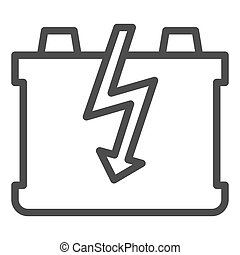 Car battery line icon. Charge battery vector illustration isolated on white. Accumulator outline style design, designed for web and app. Eps 10.