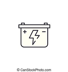 Car battery linear icon concept. Car battery line vector sign, symbol, illustration.