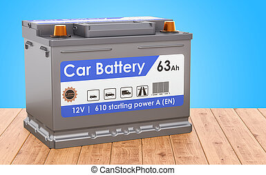 Car Battery on the wooden desk. 3D rendering