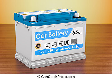 Car Battery on the wooden table. 3D rendering