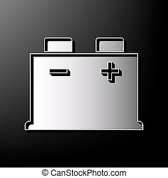 Car battery sign. Vector. Gray 3d printed icon on black background.