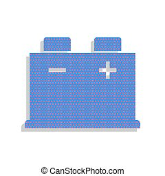 Car battery sign. Vector. Neon blue icon with cyclamen polka dot