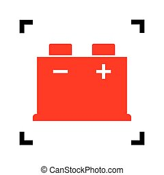 Car battery sign. Vector. Red icon inside black focus corners on white background. Isolated.