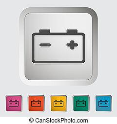 Car battery. Single icon. Vector illustration.