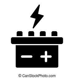 Car battery solid icon. Accumulator vector illustration isolated on white. Electricity glyph style design, designed for web and app. Eps 10.