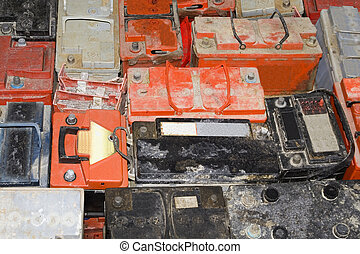Car battery - Background of old empty car battery