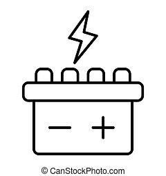 Car battery thin line icon. Accumulator vector illustration isolated on white. Electricity outline style design, designed for web and app. Eps 10.