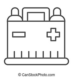 Car battery thin line icon. Auto alkaline vector illustration isolated on white. Automobile accumulator outline style design, designed for web and app. Eps 10.