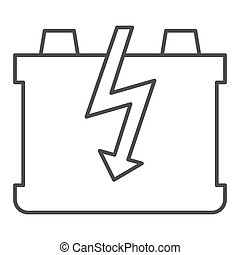 Car battery thin line icon. Charge battery vector illustration isolated on white. Accumulator outline style design, designed for web and app. Eps 10.