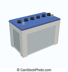 blue car battery isolated on white background