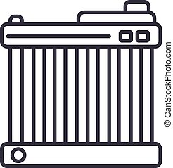 car battery vector line icon, sign, illustration on background, editable strokes