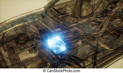 car battery visible in transparent car