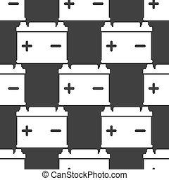 Car battery web icon. flat design. Seamless gray pattern....