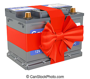 Car battery with bow and ribbon, gift concept. 3D rendering