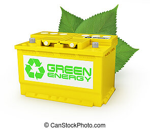 Car battery with green recycle sign. 3d