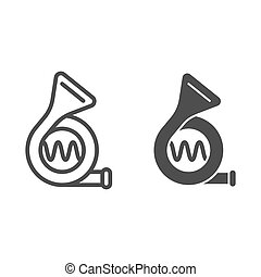Car beep line and glyph icon. Signal vector illustration isolated on white. Klaxon outline style design, designed for web and app. Eps 10.