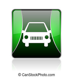 car black and green square web glossy icon
