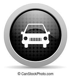car black circle web glossy icon
