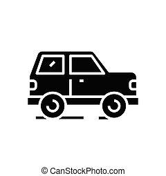 Car black icon, concept illustration, vector flat symbol, glyph sign.
