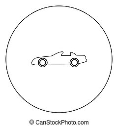 Car black icon in circle vector illustration isolated .