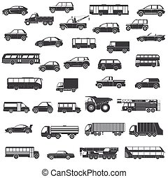 Car black icons set - Set Of Black Silhouette Car, Bus and...
