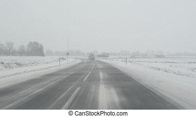 car blizzard road snow