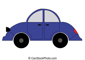 Car blue color on a white background